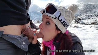 Imagen Porno español follando con una canaria en la nieve
